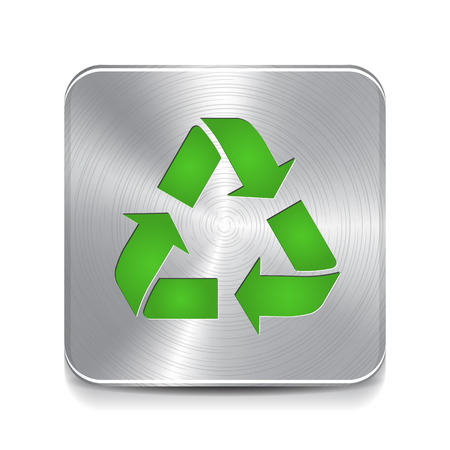 Recycling Metal Button. Recycle Sign. Vector icon