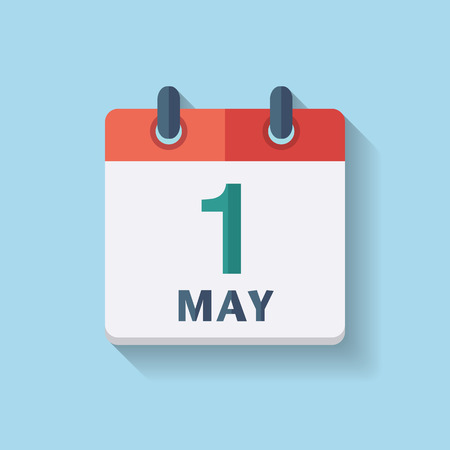 May Day. Flat vector calendar icon with the date 1st may.