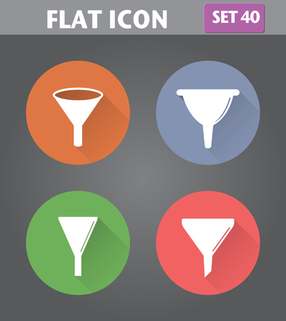 filtering: Vector application Filter, Funnel Icons set in flat style with long shadows. Illustration