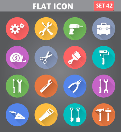 instrumentation: Vector application Tools Icons set in flat style with long shadows.