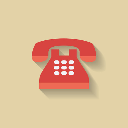 antiquated: Flat Telephone Icon. Red Retro phone. Vector for web Illustration