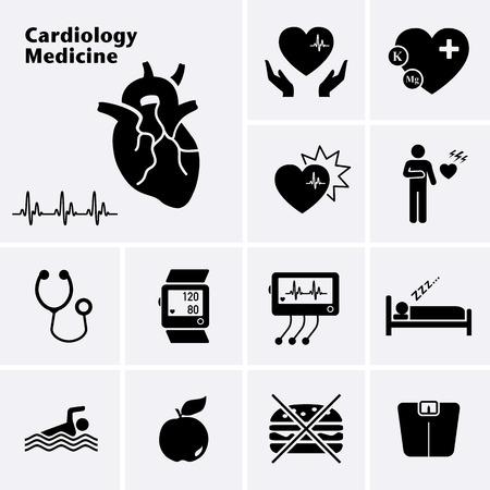 Cardiologia Medicina icone. Malattia cardiovascolare. Vector set