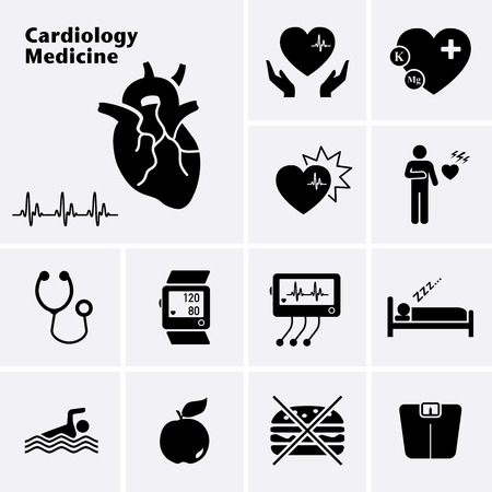 cardiovascular: Cardiology Medicine Icons. Cardiovascular Diseases. Vector set