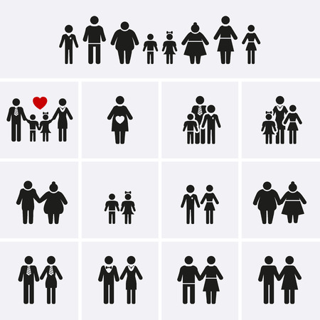 small people: Family Icons. Man, Woman, Kid, Elder. People Character. Vector set Illustration