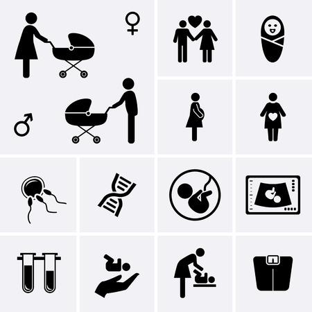 simbolo medicina: Iconos del embarazo. Obstetricia, Ginecología, nacimiento, símbolo de la medicina. equipos de diagnóstico y cuidado de la salud. El conjunto del vector