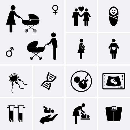 obstetrician: Pregnancy Icons. Obstetrics, Gynecology, Birth, Medicine symbol. Diagnostic equipment and healthcare. Vector set