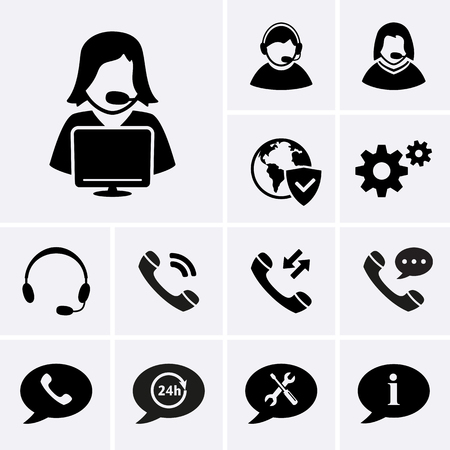 answering phone: Telemarketing Icons. Hotline Support Service and Consultation Icons. Vector set