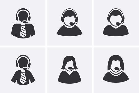 simbolo de la mujer: Iconos del Administrador de Soporte de conjuntos. Los hombres y las mujeres con el símbolo de auriculares. El conjunto del vector