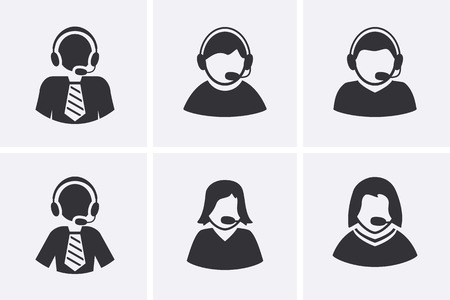 assistance: Support Manager Icons set. Men and Women with headphone symbol. Vector set
