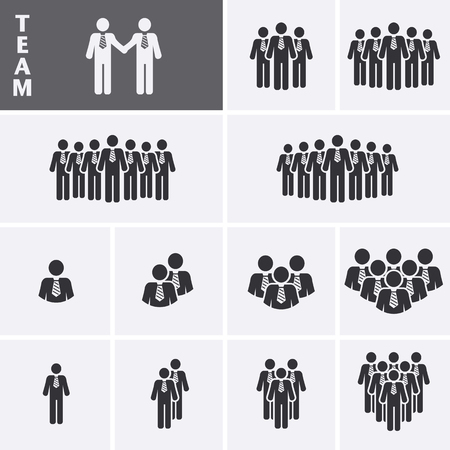 relation: Businessman Icons set. Team Icons. Crowd of people. Group of men (business man). Vector set Illustration