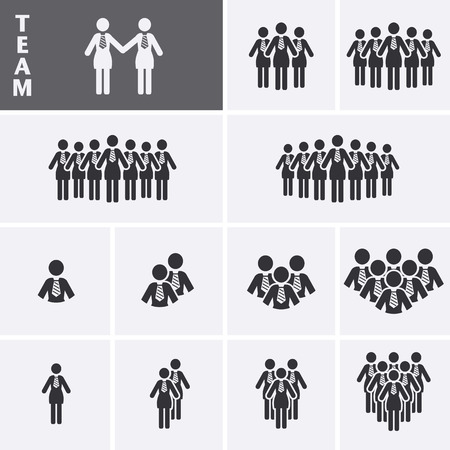 team group: Businesswoman Icons set. Team Icons. Crowd of people. Group of women (business woman). Vector set