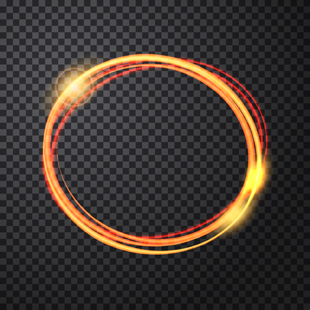 abstract fire: Abstract light gold circle background. Glowing fire ring trace. Glowing trace with magic sparkle. Vector transparent background