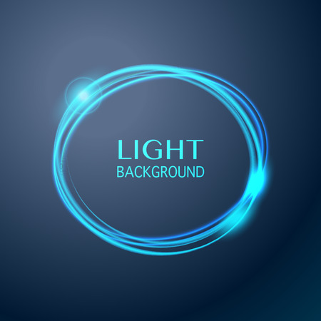blue circle: Abstract light blue circle background. Glowing trace with magic sparkle. Vector transparent background