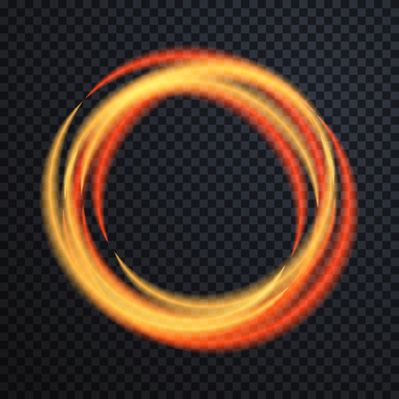 glowing: Abstract light gold circle background. Glowing fire ring trace. Glowing trace with magic sparkle. Transparent background