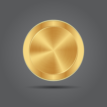metal button: Metal button icons. Gold medal. Vector app background