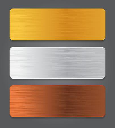 gold silver bronze: Metal button icons. Gold, silver, bronze app button.