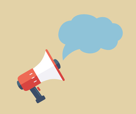 Bullhorn Icon with cloud isolated illustration