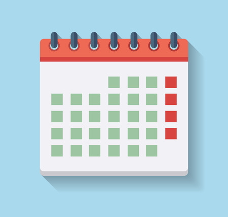Flat Calendar Icon isolated illustration on blue background