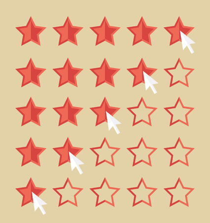 reference: Customer review concept. Cursor arrow choosing rating stars. Flat design vector for web
