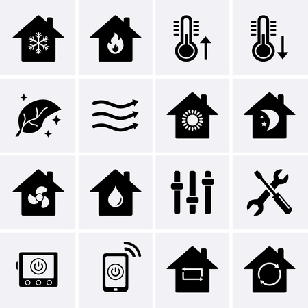 Heating and Cooling Icons. HVAC (heating, ventilating, and air conditioning) technology. Vector Illustration