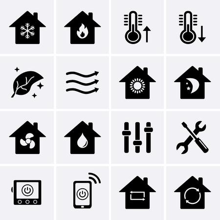 Verwarming en koeling pictogrammen. HVAC-technologie (verwarming, ventilatie en airconditioning). Vector
