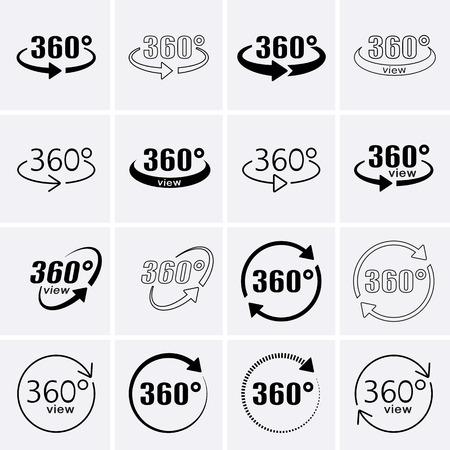 360 Degrees View Icons. Rotate icons. Vector set Vektoros illusztráció