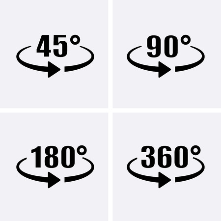 Angle 45, 90, 180, 360 Degrees View Icons. Rotation arrow. Rotate icons. Vector