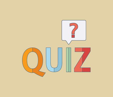 Quiz logo, flat icon. Question competition. Questionnaire concept. Vector background Illustration