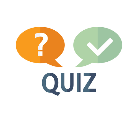 quizzes: Quiz logo with speech bubble symbols, flat icon. Question competition. Questionnaire concept. Vector background