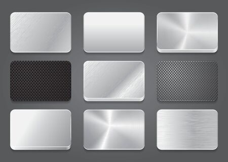 platinum metal: Card icons with metal background. Platinum button icons set. Vector illustration