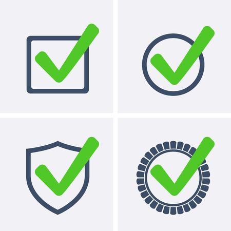 proven: Green Tick Checkbox, set Icons vector illustration isolated Illustration