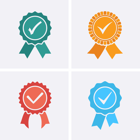 Approved or Certified Medal Icons. Vector flat set