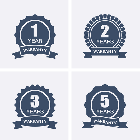 lifetime: 1, 2, 3 and 5 years Warranty Icons isolated on Certified Medal. Vector