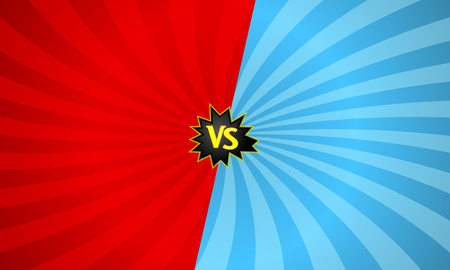 Versus letters fight backgrounds with sun rays style design. VS with bursting speech star. Vector illustration Illustration