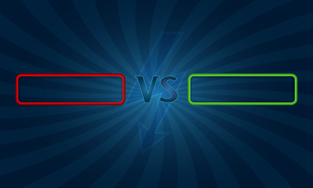 defeated: Versus letters fight backgrounds with sun rays style design. VS with speech bubble. Vector illustration