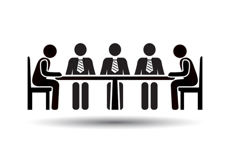 chat room: Conference Meeting Icons. Team work and human resource management. Vector pictogram