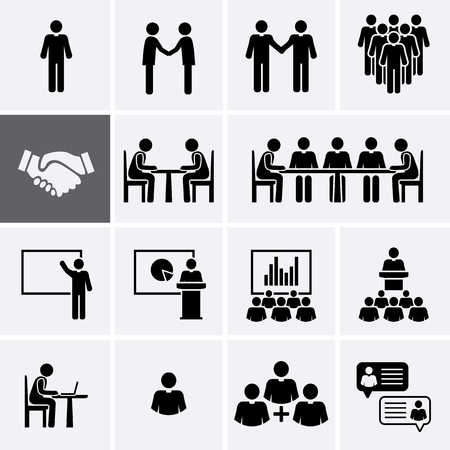 Conference Meeting Icons set. Team work and human resource management. Vector pictogram Çizim