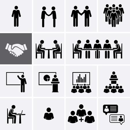 Conjunto de iconos de la reunión de la conferencia. Trabajo en equipo y gestión de recursos humanos. Vector pictograma Ilustración de vector