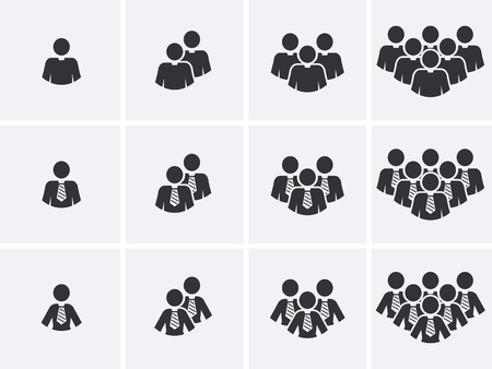 pictogram people: Staff people Icons set. Customer group pictogram. Management team Icon. Social network Users. Vector