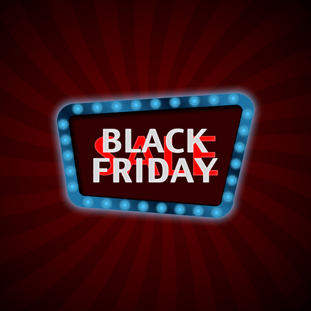 Black Friday Sale. Retro light frame. Vintage style banner. Vector illustration
