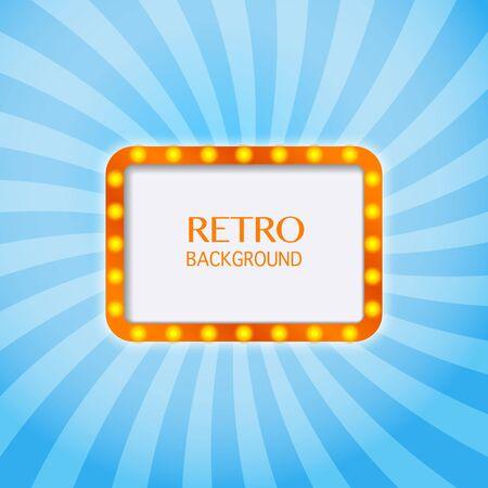 Retro light sign. Lighting frame. Vintage style banner. Vector illustration