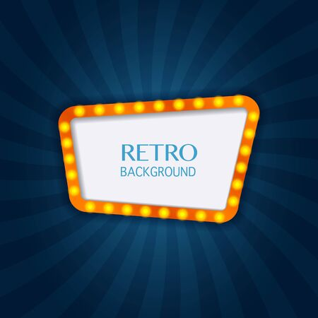 christmas backdrop: Retro light sign. Lighting frame. Vintage style banner. Vector illustration