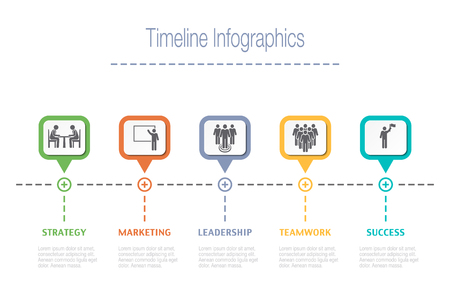 Business overview visualization. Timeline Infographic data. Business template for presentation. Vector infographics