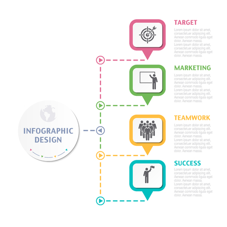 numbers abstract: Abstract Infographic number options. Business overview visualization. Business template for presentation. Vector infographics