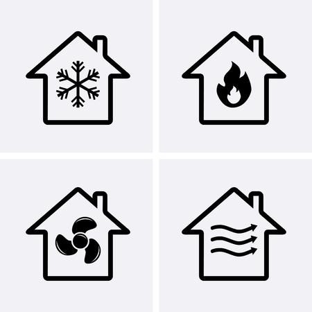 HVAC (난방, 환기 및 에어컨) 아이콘. 가열 및 냉각 기술. 벡터
