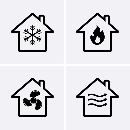 HVAC (verwarming, ventilatie en airconditioning) Pictogrammen. Verwarming en koeling technologie. Vector Stock Illustratie