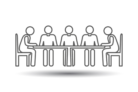 Group People Thin Icons. Conference Meeting Icons. Team work and human resource management. Vector pictogram