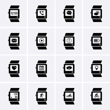 software portability: Smart Watch Icons. Vector Illustration