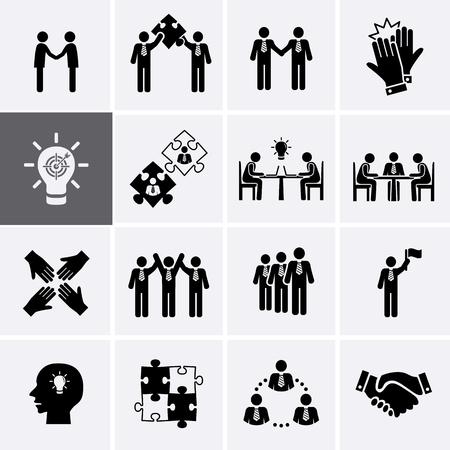 팀 작업, 경력 및 비즈니스 프로세스 아이콘. 벡터 인적 자원 관리