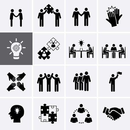 Team Work, Career and Business Process Icons. Vector human resource management 向量圖像